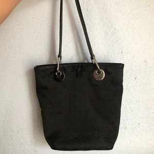 GUCCI BLACK MONOGRAM CANVAS BLACK BUCKET TOTE
